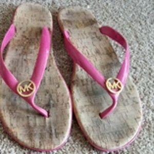 Michael Kors Pink Cork flip flops sz 9